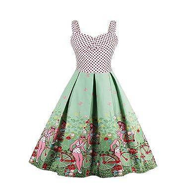 iShine Retro Kleider Damen Neckholder Cocktailkleider 1950er Vintage ...