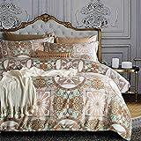 Damask Medallion Luxury Duvet Quilt Cover Boho Paisley Print Bedding Set 400 Thread Count Egyptian Cotton Sateen Vibrant Bohemian Pattern (King, Aqua Tan)