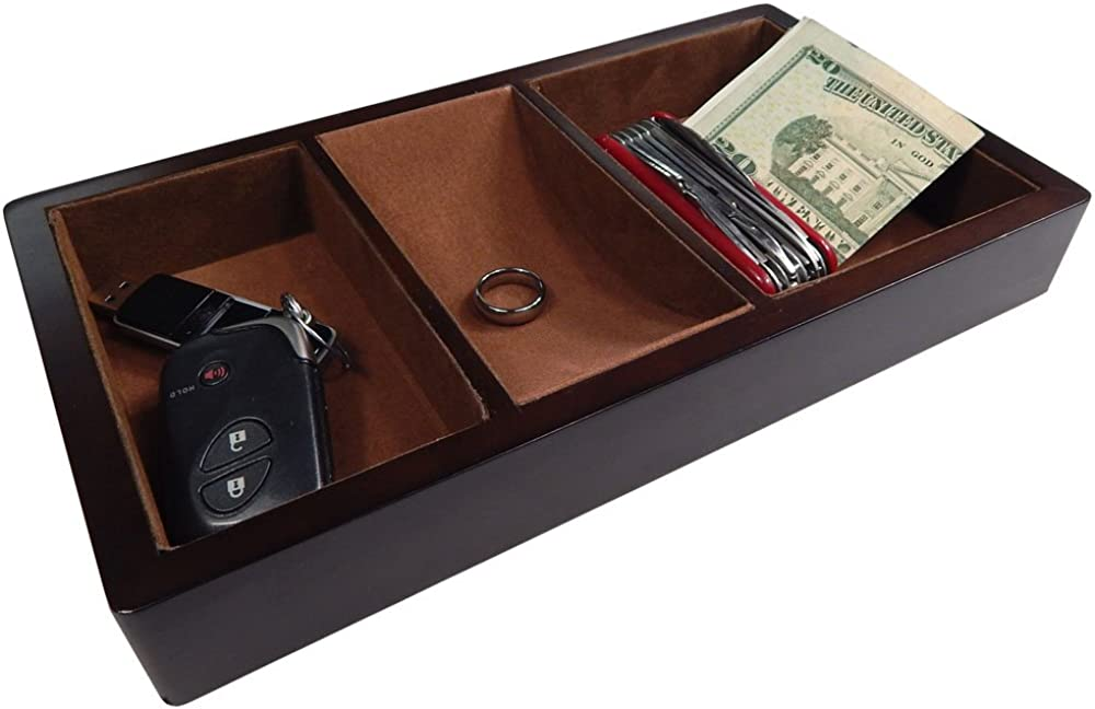 Profile Gifts Woltar Wooden Valet Tray with 3 Compartment Leatherette Organizer Box for Wallets, Coins, Keys, and Jewelry