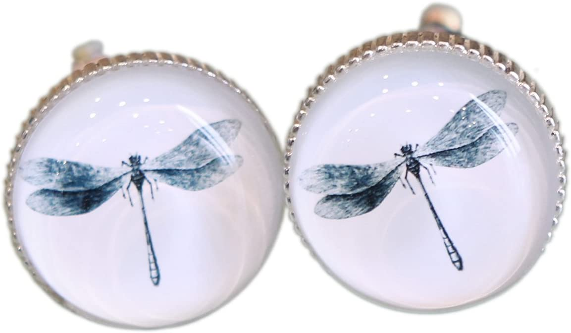 White NIKKY HOME 2 Pcs Vintage Elegant Metal and Glass Drawer Knobs with Dragonfly Pattern