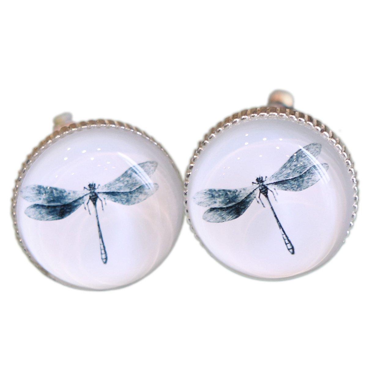 Boutons de tiroir en verre avec motif libellule,, Métal et verre, Dragonfly, 5 cm l x 6 cm h x 5cm w NIKKY HOME