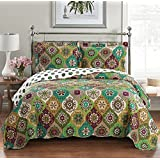 Egyptian Bedding 3 Piece Bonnie CALIFORNIA (CAL) KING Oversize Super Luxurious Wrinkle Free Coverlet / Quilt Bedding Ensemble Set with Pillow Shams