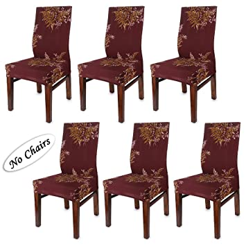 BTSKY Fabric Stretch Dining Room Chair Covers- Set of 6 Soft Spandex Fit  Banquet Chair Seat Protector Slipcover with Printed Pattern for Home Party  ...