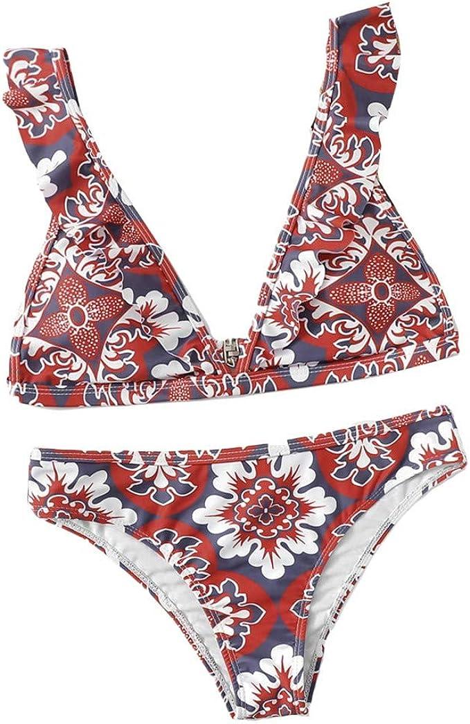 Darringls Bikinis, Impresión triángulo Sling Push-Up Bikinis Mujer ...