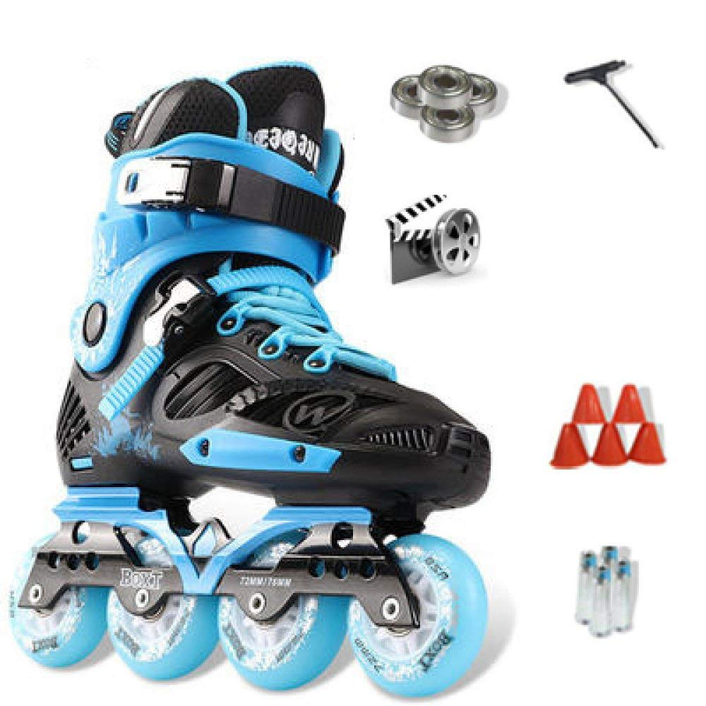 ZYH 大人の子供のための単列ローラースケート男の子女の子初心者4輪トリプルロックメッシュ通気性ローラーブレードブーツ安全パッドヘルメット子供スケートセット (Color : Blue-35Yards-Set1)   B07R8RS7VR