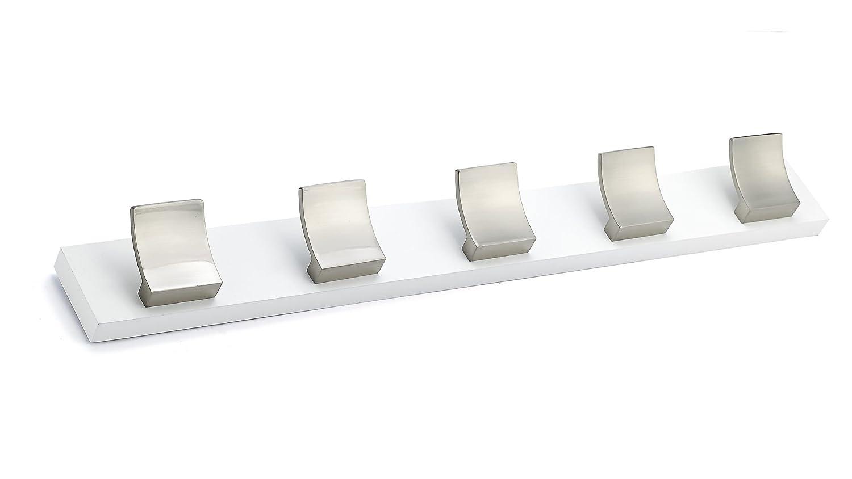 Richelieu Hardware RH5 Contemporary Hook Rack Brushed Nickel White Finish
