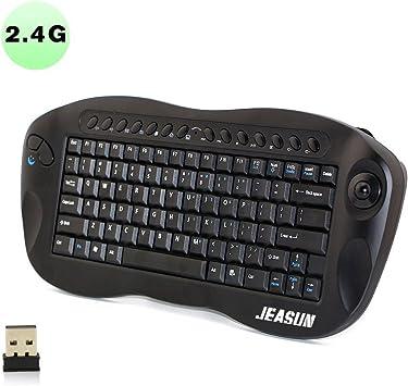 Teclado inalámbrico con trackball Jeasun Mini 2,4 GHz, de color negro y teclado americano.