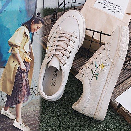 NGRDX&G Baskets Femme Broderie Fleur Femme Casual Chaussures