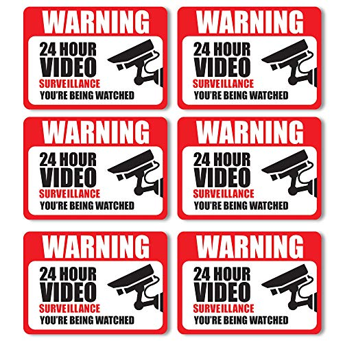 Free Surveillance Decal - Front Facing Video Surveillance Adhesive Stickers (6-Pack) | Self-Adhesive Decals for Doors and Windows | UV Resistant for Ultimate Protection & Durability| Deter Thieves, Robbers & Burglars