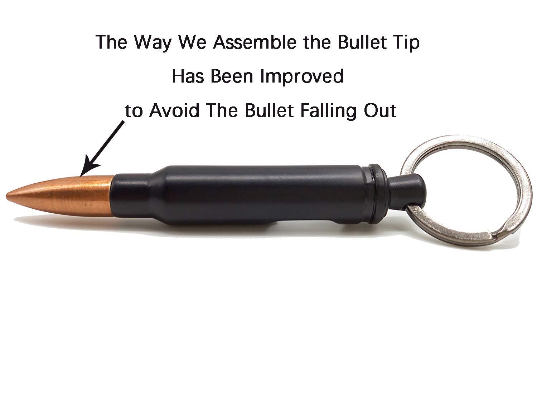 LOVENJOY Cool Bullet Bottle Opener Keychain Ring Accessory (Black)
