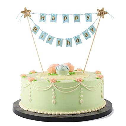 Amazon LVEUD BH Mini Happy Birthday Cake Topper Banner