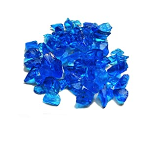 Skyflame 10-Pound Recycled Fire Glass for Fire Pit/Fireplace/Vase Fillers/Garden Landscapes, Sea Blue