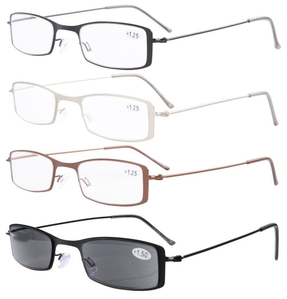 outlet 4-Pack Marco de acero inoxidable La mitad ojo estilo Gafas de ...