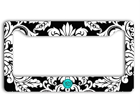 Amazon.com: Personalized license plate frame - Black and white ...