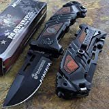 Mtech Us Marines Rescue Knife Fold Serrated Steel Blade Brown Handle