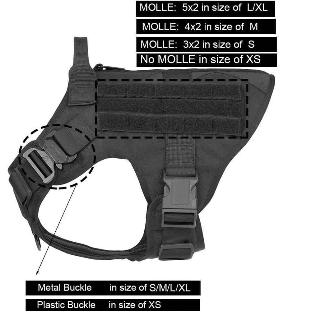 Arn/és Modular para Perros t/ácticos Militares Sin tir/ón Frente Clip Aplicaci/ón de la Ley K9 Trabajando Cannie Molle Chaleco de Caza Color : Black, Size : XS Chest 18to 23inch WQ-HUNTING