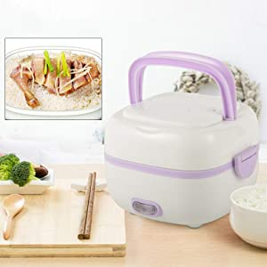 Multifunctional 1L Portable Stainless Steel Electric Heating Bento Lunch Box, 110V Mini Food Storage Warmer Container Rice Cooker Food Steamer, Premium White