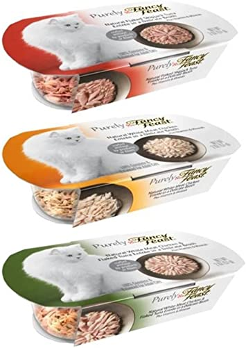 Fancy Feast Purely Complete Cat Food 3 Flavor Variety 6 Can Bundle 2 White Meat Chicken, 2 White Meat Chicken Flaked Tuna, and 2 Flaked Skipjack Tuna, 2 Oz. Ea. 6 Cans Total