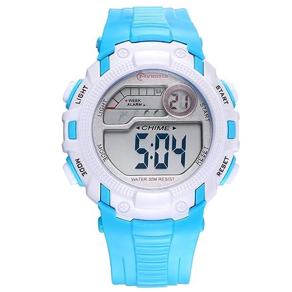 Relojes para niños/Chicas deporte digital resistente al agua reloj digital/ versátil con reloj digital alarma-A: Amazon.es: Relojes