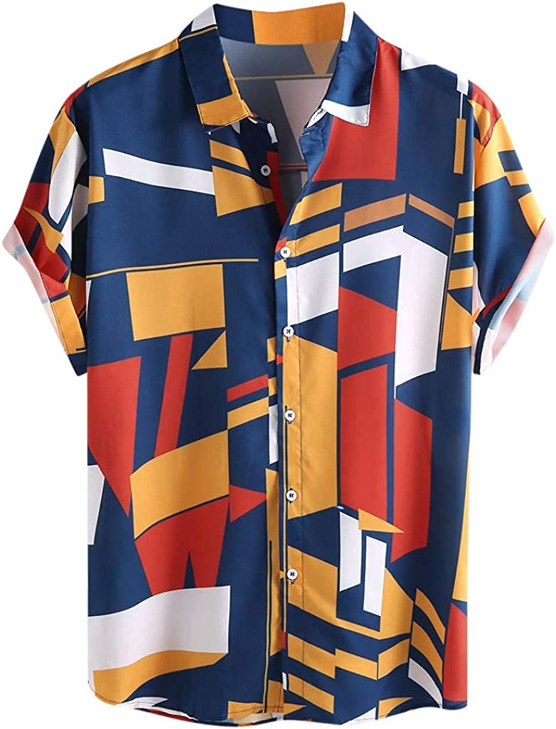 Dragon868 Camisa Hawaiana Hombre Manga Corta Verano 2020 Camisas Sueltas con Estampado geométrico: Amazon.es: Ropa y accesorios