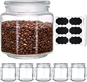 Glass Food Storage Jars, Daitouge 46 oz Glass Canning Jars, Glass jars with Lids for Flour, Nuts with Extra Blank Labels & Chalkboard Pen, Set of 6