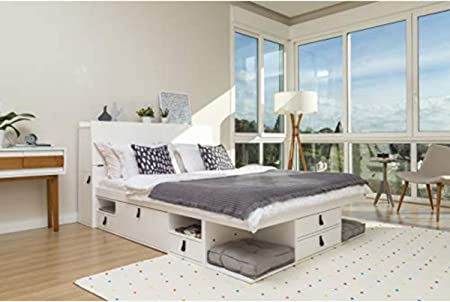 Cama Funcional Bali 160x200 cm Blanco - Estructura con Mucho Espacio de almacenaje y cajones, Ideal para dormitorios pequeños - Madera Maciza de Pino ...