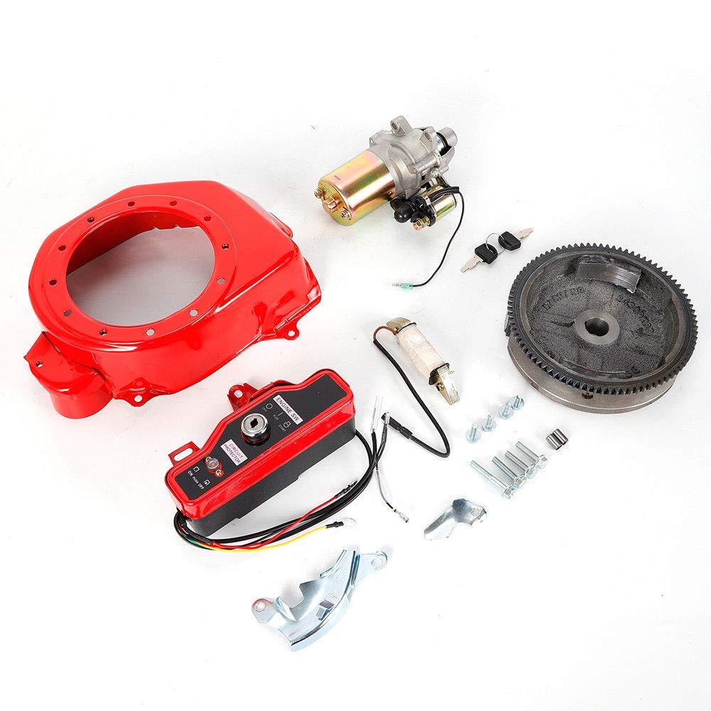 Electric Start Kit Flywheel Starter Motor Key Switch Coil Ignition Box Fan Cover For Honda GX160 GX200 US Stock