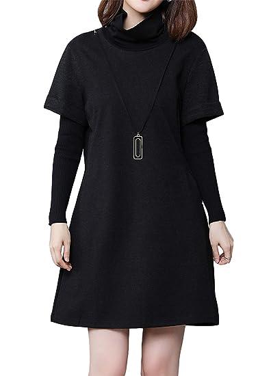62535a6c5c Luna et Margarita Petite Robe Noire Femme Droite Classique à Manche Longue  Grande Taille: Amazon.fr: Vêtements et accessoires