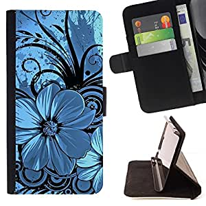 BETTY - FOR Sony Xperia Z3 D6603 - Blue & Black Floral - Style PU Leather Case Wallet Flip Stand Flap Closure Cover