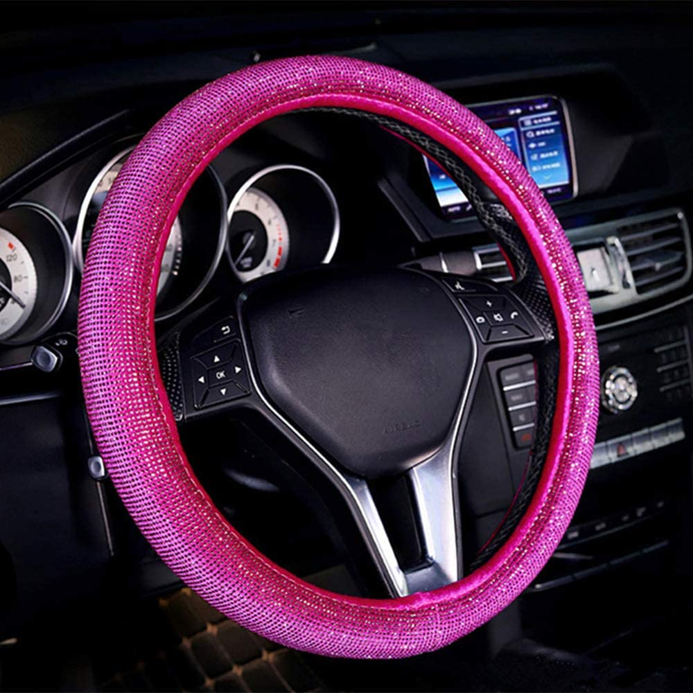 ZHOL Diamond Cover All Surfaces,Steering Wheel Cover with Bling Bling Crystal Rhinestones, Universal Fit 15 Inch Anti-Slip Wheel Protector, Pink