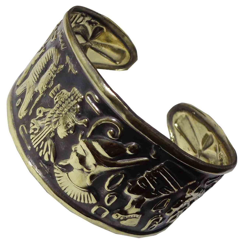 bonballoon Egypt Pharaoh Handmade Brass Bracelet Cuff Ankh Key Tut Isis Horus eye Life Scarab beetle Luck Hieroglyphics Cartouche Pharaoh's Costume Jewelry Accessory Hieroglyphic 108