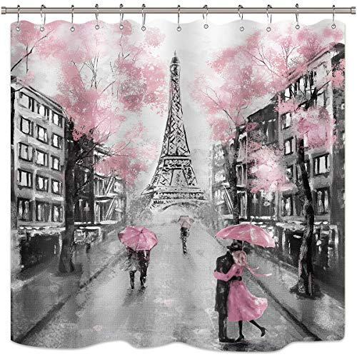 pink and grey shower curtain - 5