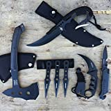 (US) 7pc Pocket Knife Throwing Knives Full Tang Dagger Tomahawk Axe Karambit Knife Survival Set | With Holt Multi Tool Key Chain