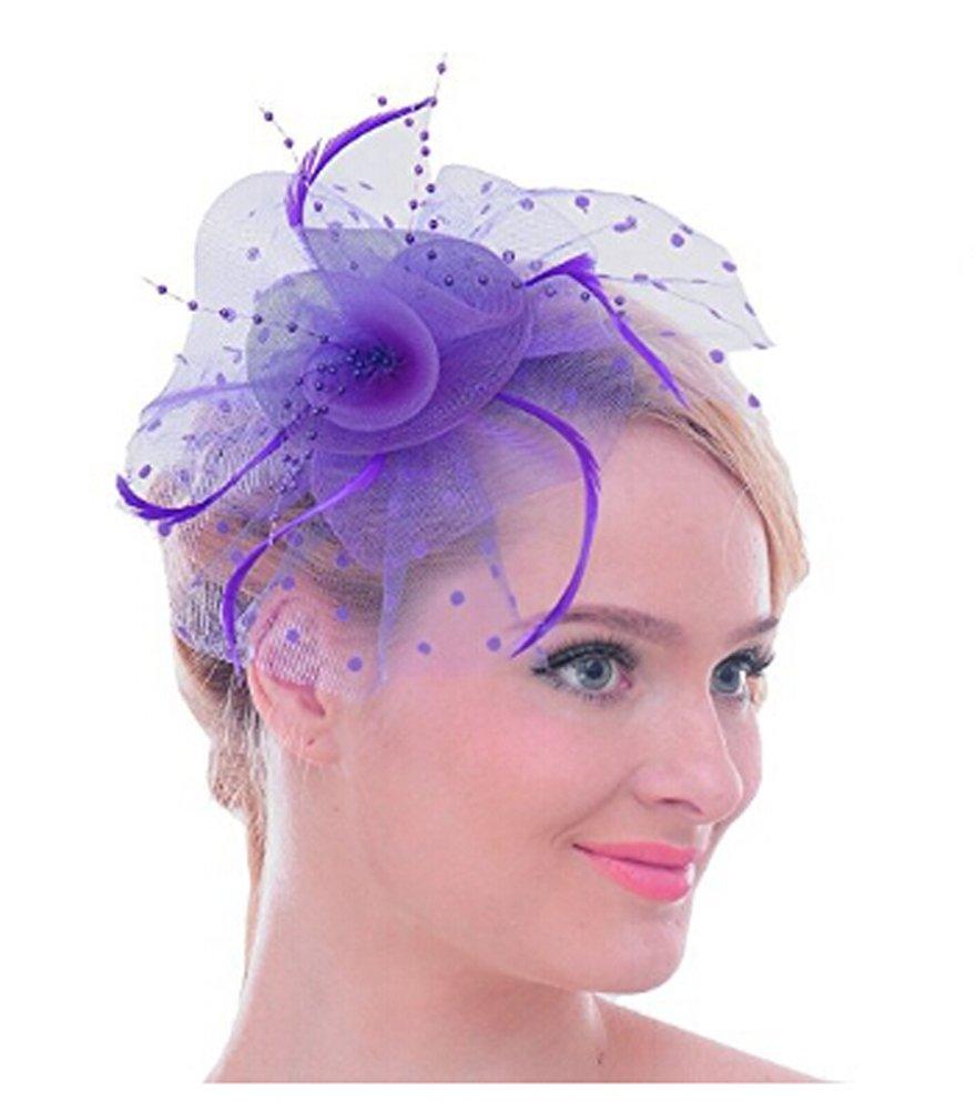 Amazon.com : Womens Flower Dot Feather Mesh Veil Fascinators Net ...