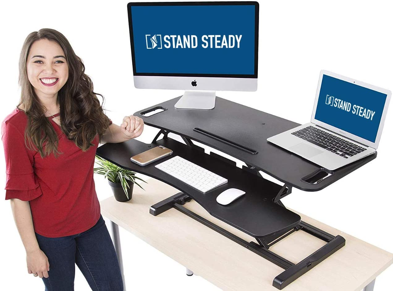 Stand Steady Flexpro Hero Dual Level Standing Desk – Easily Sit or Stand in Seconds – Large Work Space w Removable Extra Level for Keyboard Mouse Large 37