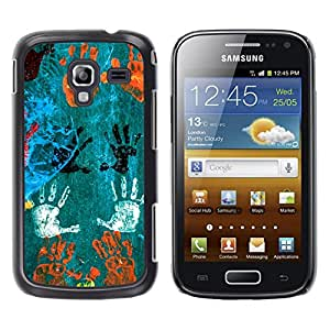 MOBMART Carcasa Funda Case Cover Armor Shell PARA Samsung Galaxy Ace 2 - Hand Prints In Different Colors