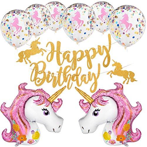 - PartySetGo Magical Unicorn Party Supplies Kit with Pink Unicorn Balloons, Confetti Balloons & Gold Happy Birthday Banner
