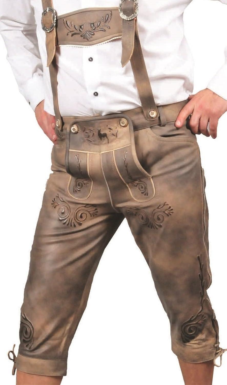 Kniebundhose Leder Antik Nubuk- Trachtenlederhose Herren- Damen Kniebundlederhose -Trachten Lederhose mit Träger in antik Beige Trachtenhose Knielang aus echt Leder