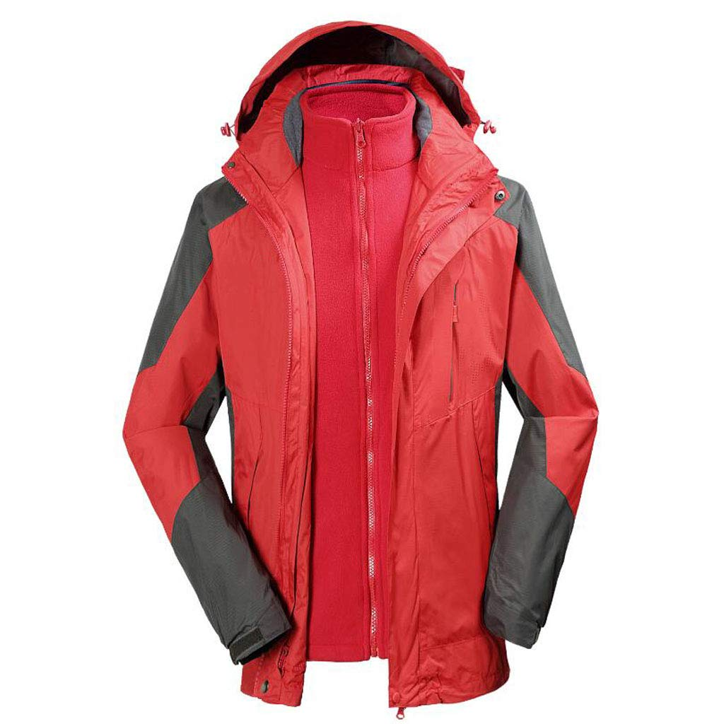 rouge XL DAFREW VêteHommests de Ski d'hiver Chauds, Manteau Coupe-Vent à Capuche de Grande Taille (M-3XL), Veste imperméable extérieure pour Hommes (Couleur   vert, Taille   L)