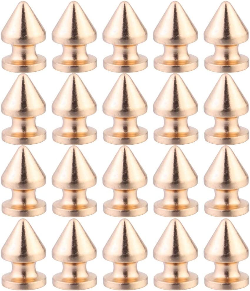 Golden Healifty 20pcs Cone Spikes Screwback Studs Punk Rivets DIY Craft Rivets for Leather Bag Shoes Clothing Making Supplies