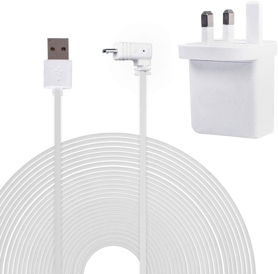 Power Adapter 5V//3A with 20ft//6m Weatherproof Cable Compatible with Blink XT Home Camera/&for Blink Indoor Home Camera,No Need to Change The Batteries,White