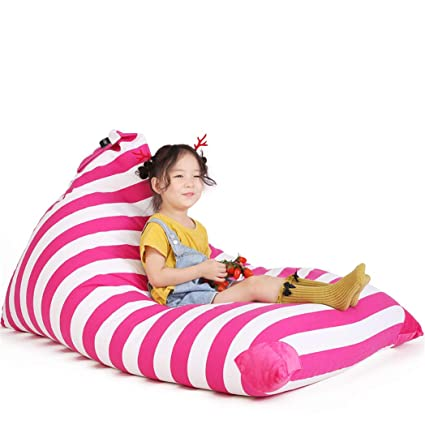Fantastic Stuffed Animal Bean Bag Chair For Kids And Adults Premium Canvas Stuffed Seat Cover Only White Pink Stripe 200L 52 Gal Theyellowbook Wood Chair Design Ideas Theyellowbookinfo