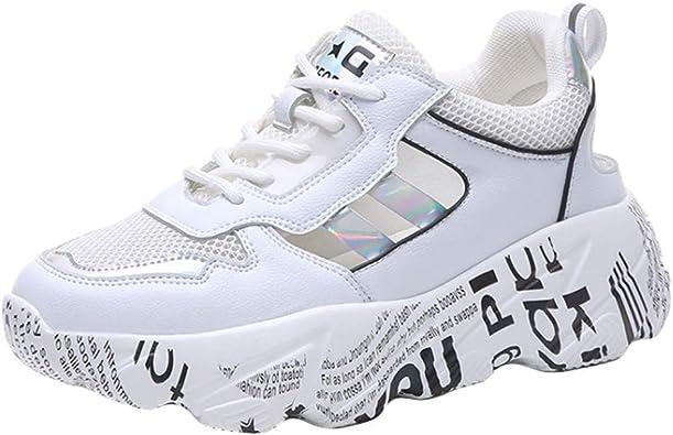 DOLDOA Baskets Mode Femme Blanche en Mesh Chaussure de Sport