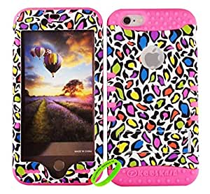 Cellphone Trendz New 3-piece HARD & SOFT RUBBER HYBRID ROCKER HIGH IMPACT PROTECTIVE CASE COVER for Apple iPhone 6 4.7 inch 6th Generation - Colorful Leopard Hard Case Design on Pink Silicone