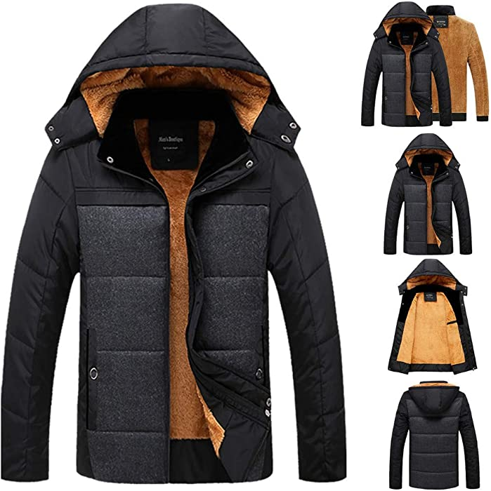 Amazon.com  Men s Down Jacket with Hooded Autumn Winter Extra Heavy Cotton  Jacket Zipper Hat Coat  Clothing 3f2114691