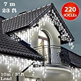 ICICLE Lights 220 LED Bright White Indoor & Outdoor Snowing Christmas Lights Fairy Lights 7m / 23 ft with 10m / 33 ft Lead Wire- Multi-Action - Green Cabl