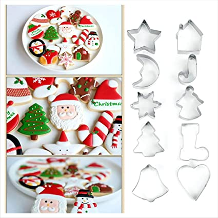 Buy Cake Decor 10 Pcs Christmas Cookies Cutter Bakeware Mould
