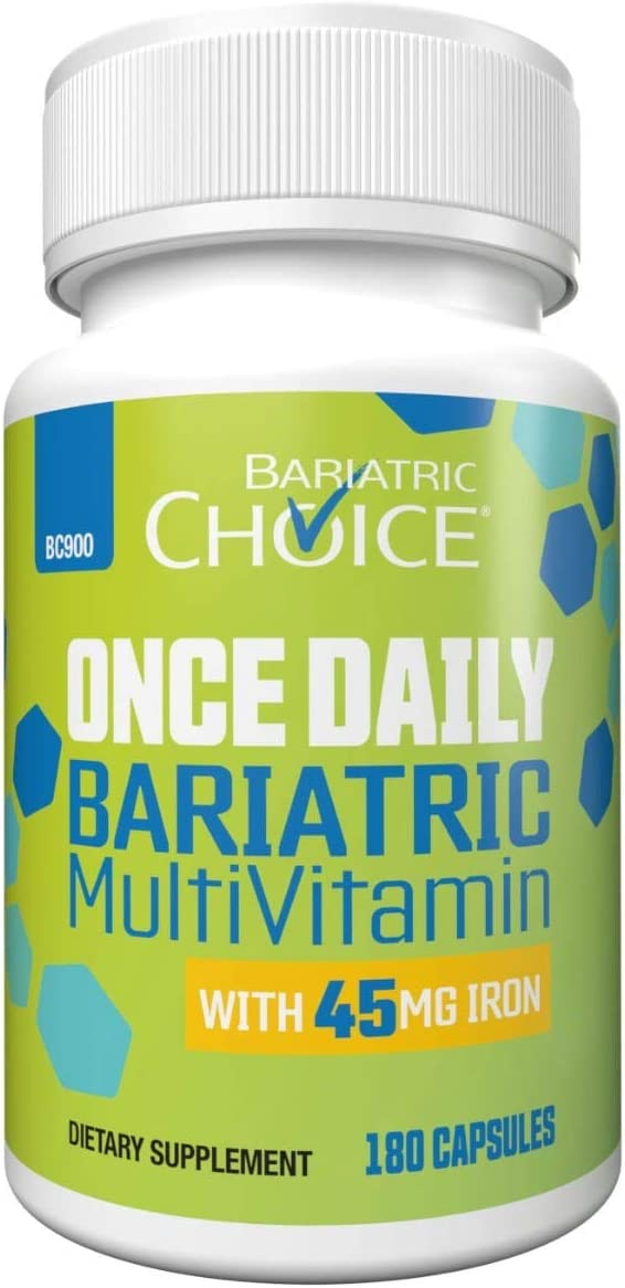 Bariatric Choice Once Daily Bariatric Multivitamin Capsule with 45 mg of Iron (180 Count), Bariatric Vitamin Supplement for Post Bariatric Surgery Gastric Bypass Patients