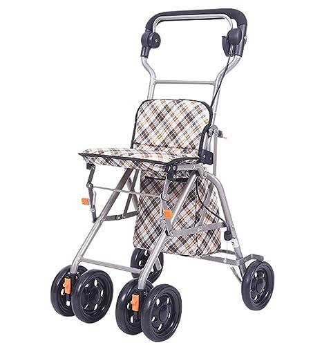 TWGDH Rollator Walker De Cuatro Ruedas De Aluminio con Carrito De La Compra Carretilla Plegable Ligera