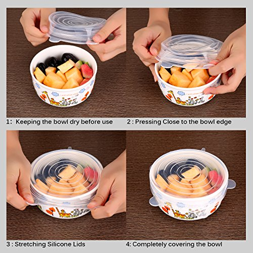 Silicone Stretch Lids - 7-pack Reusable Silicone Food Covers (includes Exclusive XL Size) , Silicone lids for Cups/Bowls/Containers/Food, Durable Freezable BPA Free FDA Approved Food lids (white)